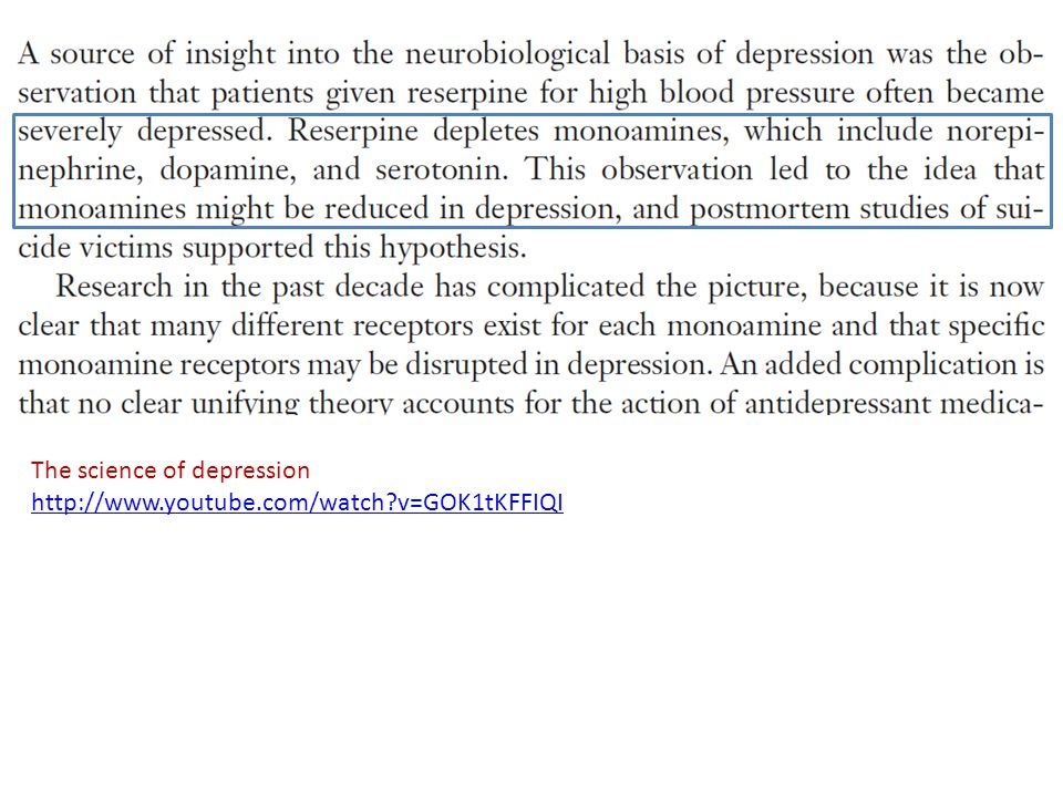 The science of depression http://www.youtube.com/watch?v=GOK1tKFFIQI