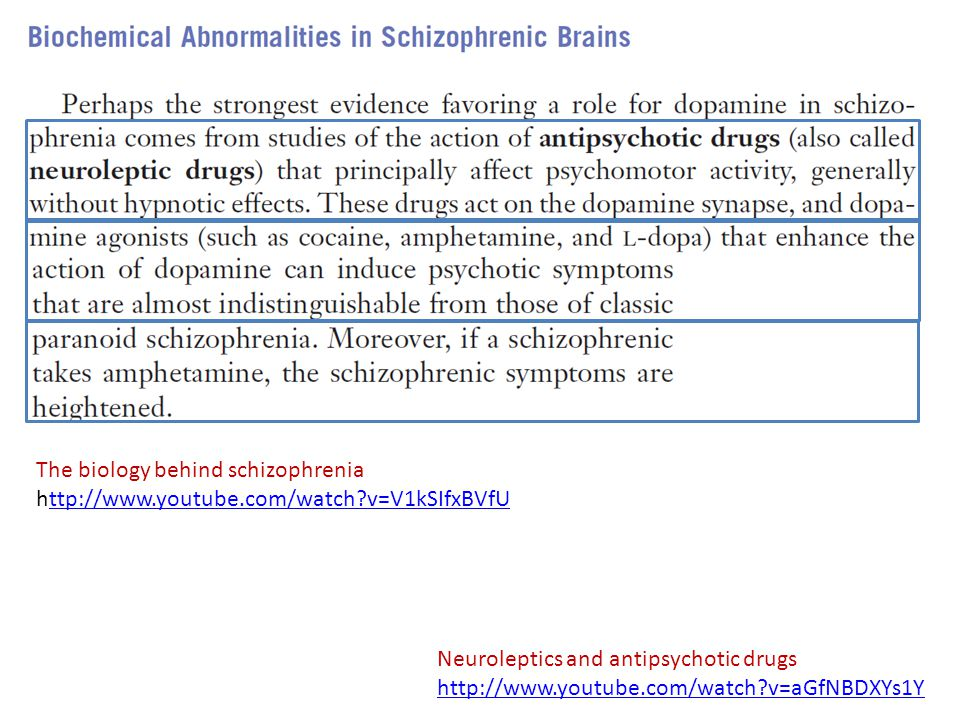 Neuroleptics and antipsychotic drugs http://www.youtube.com/watch?v=aGfNBDXYs1Y The biology behind schizophrenia http://www.youtube.com/watch?v=V1kSIf