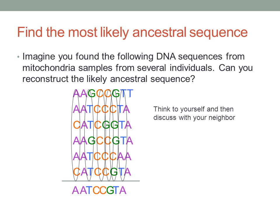 Find the most likely ancestral sequence Imagine you found the following DNA sequences from mitochondria samples from several individuals. Can you reco