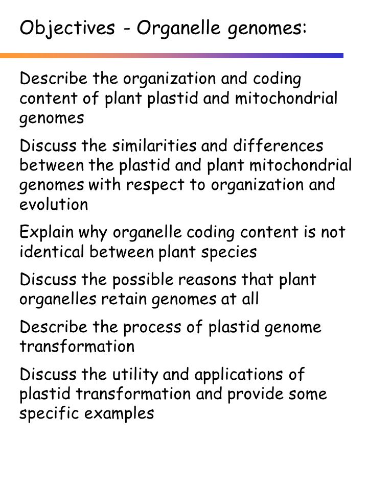 Describe the organization and coding content of plant plastid and mitochondrial genomes Discuss the similarities and differences between the plastid and plant mitochondrial genomes with respect to organization and evolution Explain why organelle coding content is not identical between plant species Discuss the possible reasons that plant organelles retain genomes at all Describe the process of plastid genome transformation Discuss the utility and applications of plastid transformation and provide some specific examples Objectives - Organelle genomes: