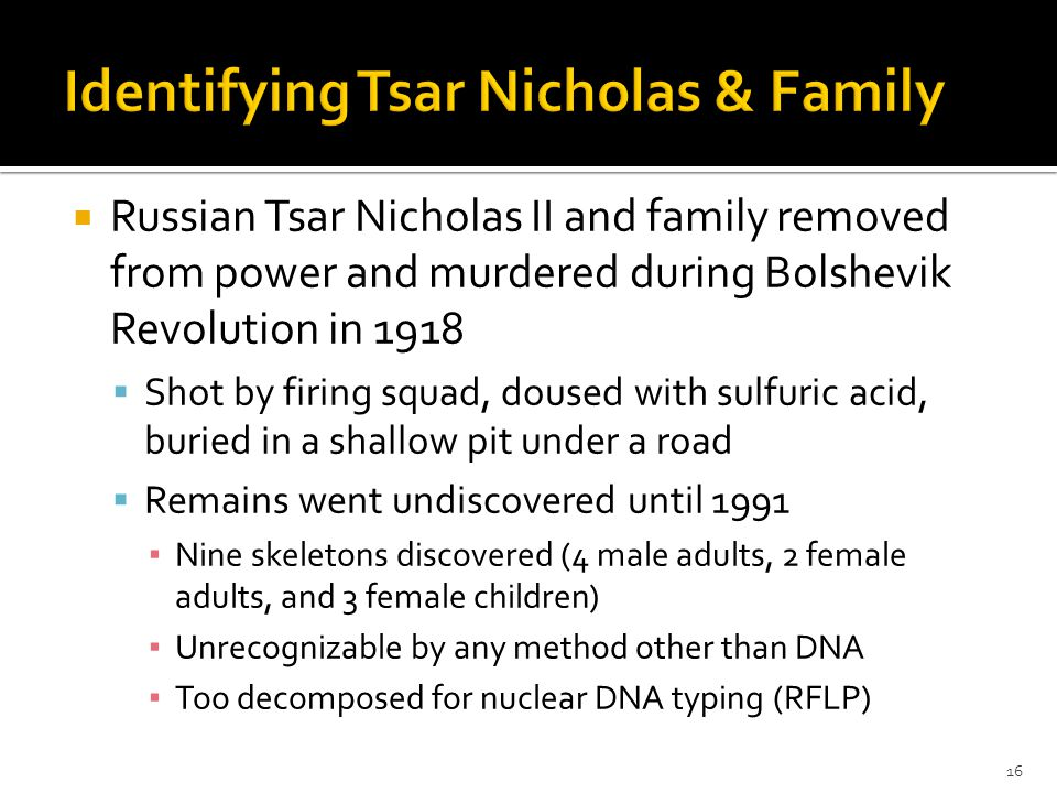  Russian Tsar Nicholas II and family removed from power and murdered during Bolshevik Revolution in 1918  Shot by firing squad, doused with sulfuric acid, buried in a shallow pit under a road  Remains went undiscovered until 1991 ▪ Nine skeletons discovered (4 male adults, 2 female adults, and 3 female children) ▪ Unrecognizable by any method other than DNA ▪ Too decomposed for nuclear DNA typing (RFLP) 16