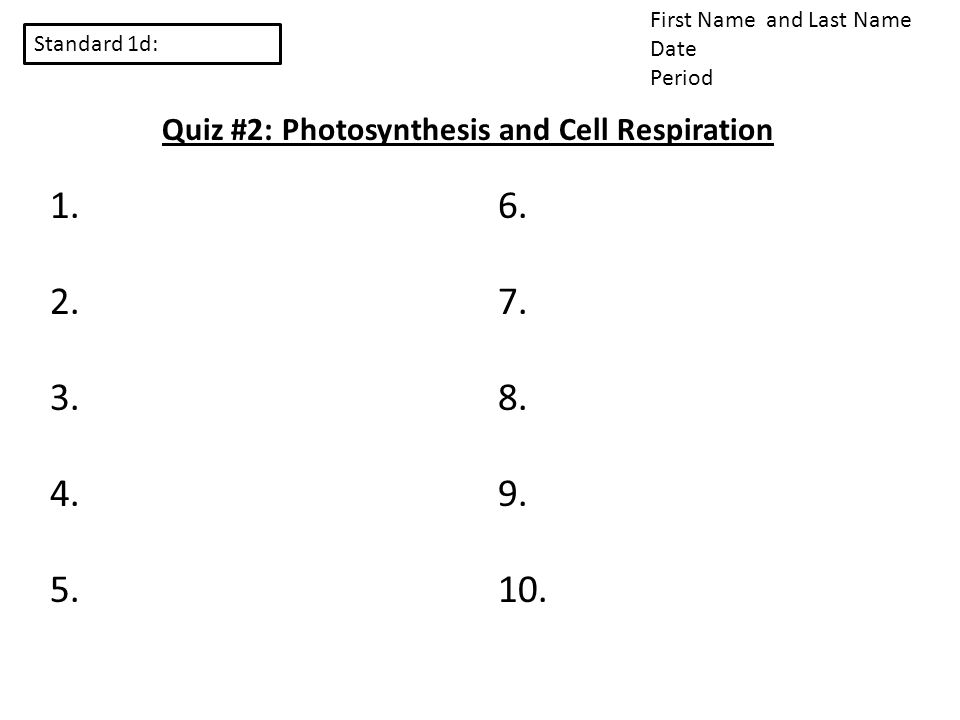 Standard 1d: First Name and Last Name Date Period Quiz #2: Photosynthesis and Cell Respiration 1. 2. 3. 4. 5. 6. 7. 8. 9. 10.