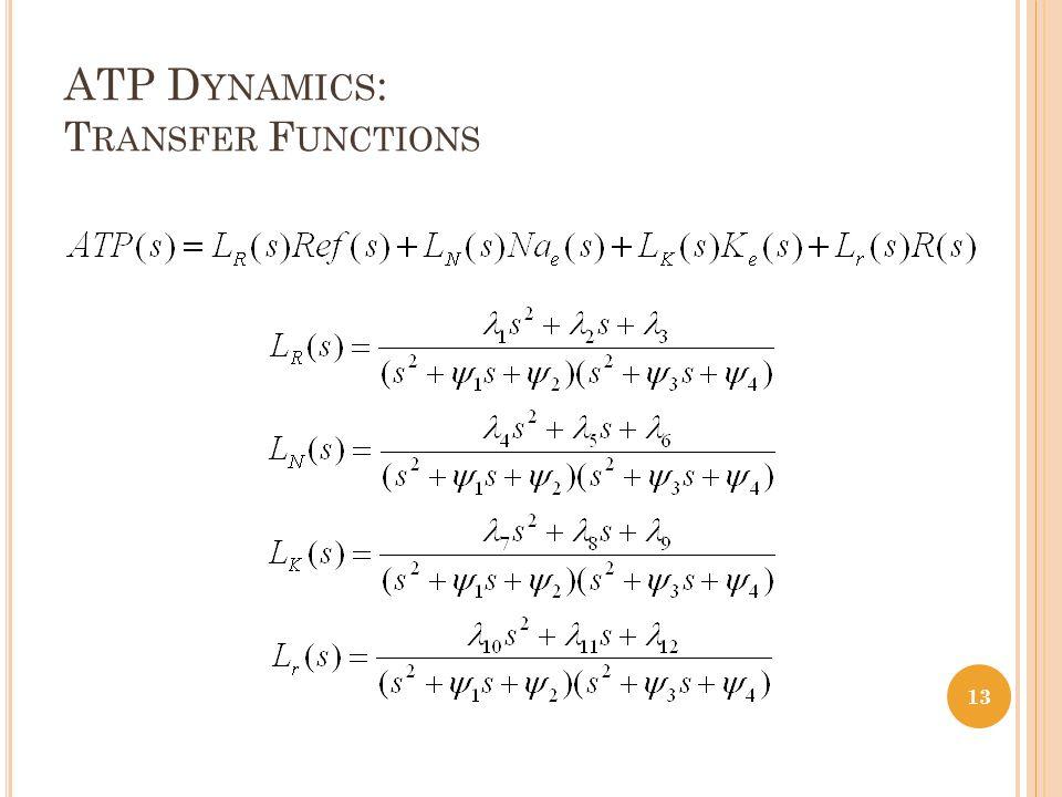 ATP D YNAMICS : T RANSFER F UNCTIONS 13