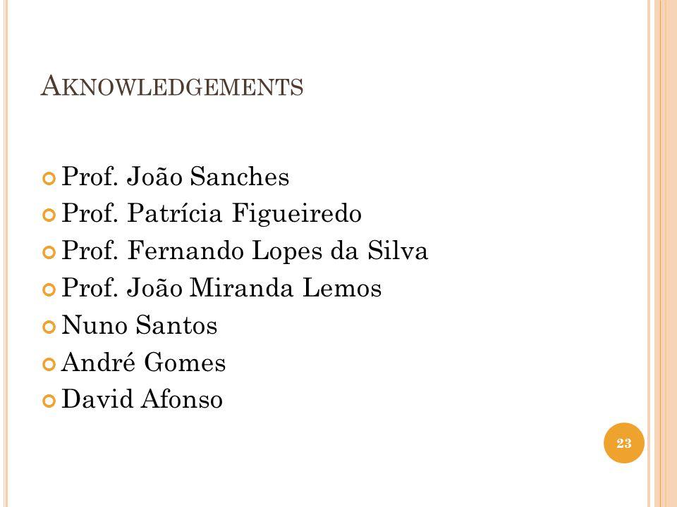 A KNOWLEDGEMENTS Prof. João Sanches Prof. Patrícia Figueiredo Prof.