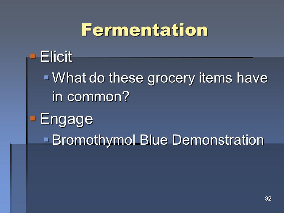 Fermentation  Elicit  What do these grocery items have in common.
