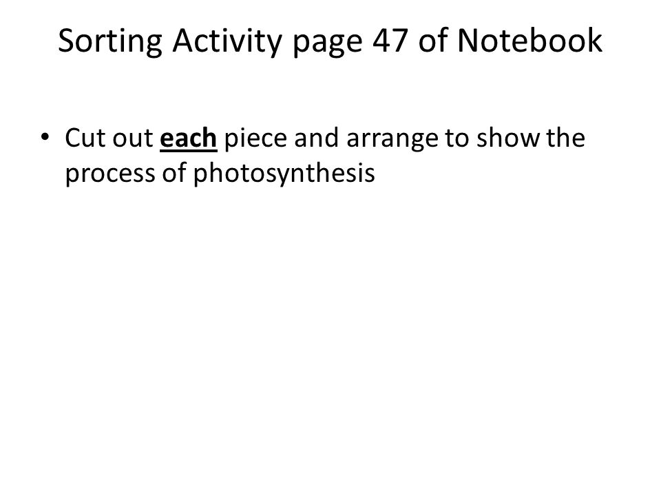 Sorting Activity page 47 of Notebook Cut out each piece and arrange to show the process of photosynthesis