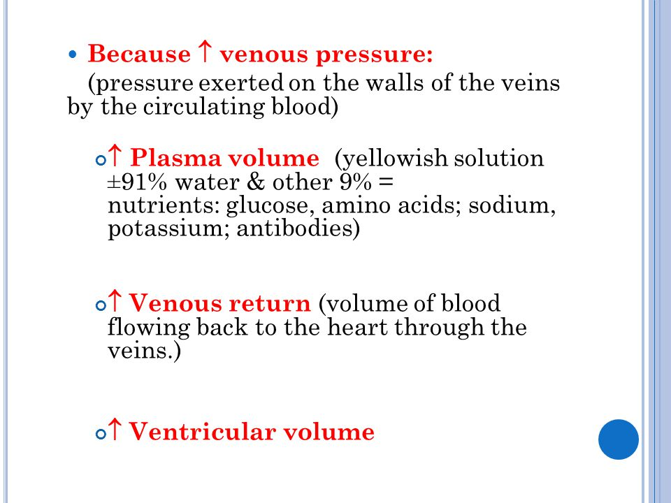 Because  venous pressure: (pressure exerted on the walls of the veins by the circulating blood)  Plasma volume (yellowish solution ±91% water & othe