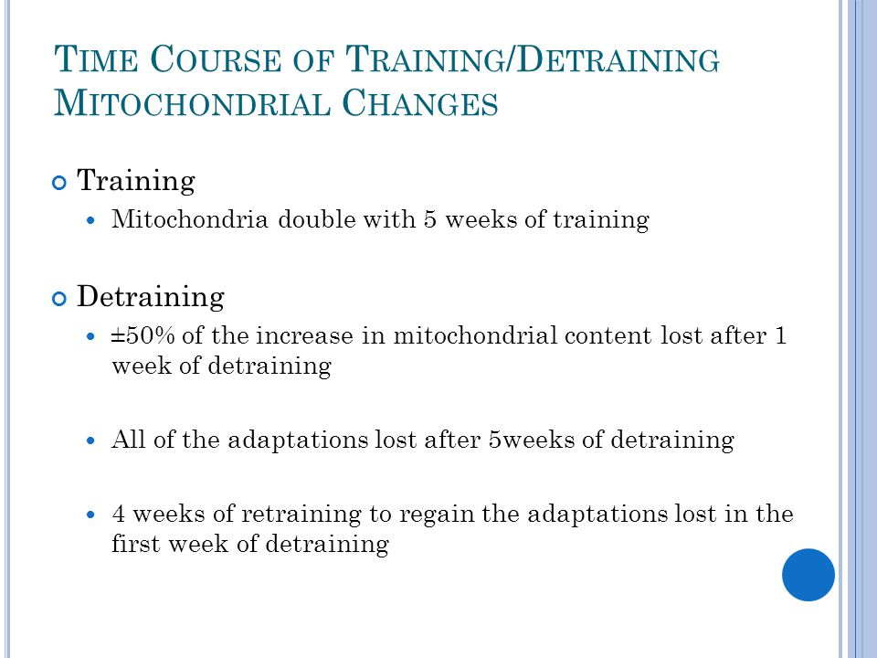 T IME C OURSE OF T RAINING /D ETRAINING M ITOCHONDRIAL C HANGES Training Mitochondria double with 5 weeks of training Detraining ±50% of the increase