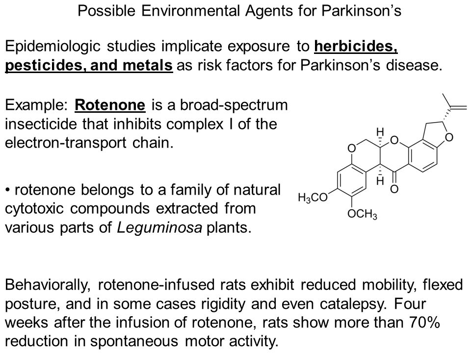 Possible Environmental Agents for Parkinson's Epidemiologic studies implicate exposure to herbicides, pesticides, and metals as risk factors for Parki