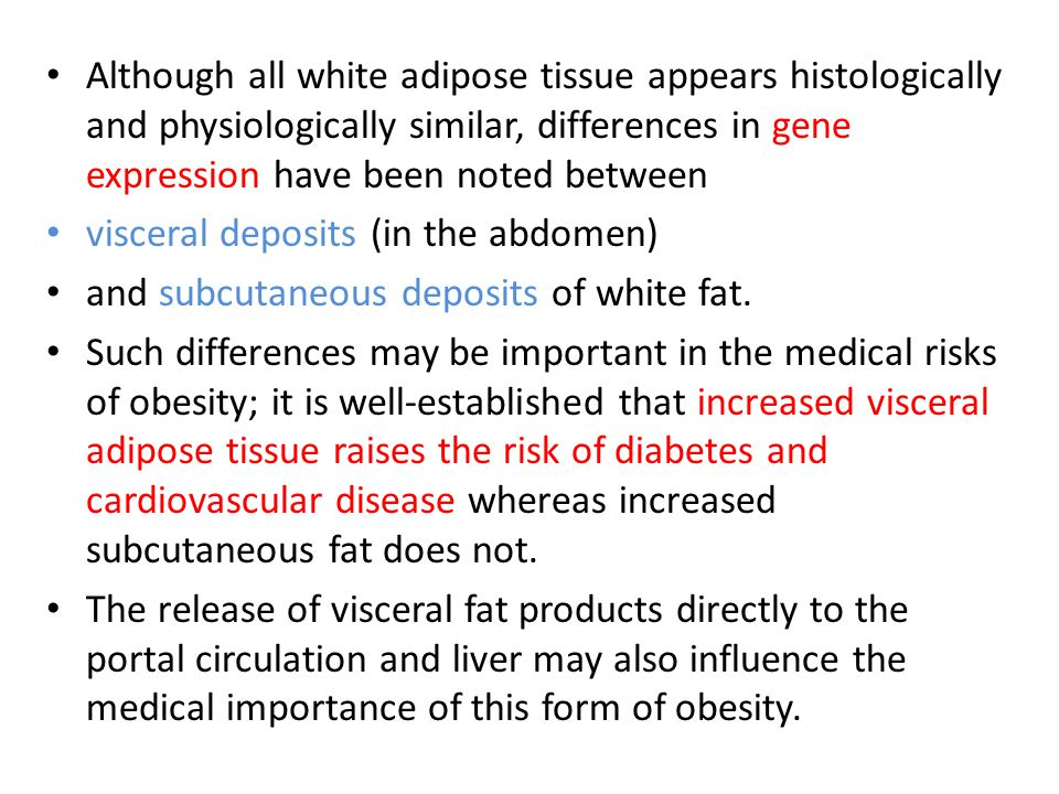 Although all white adipose tissue appears histologically and physiologically similar, differences in gene expression have been noted between visceral