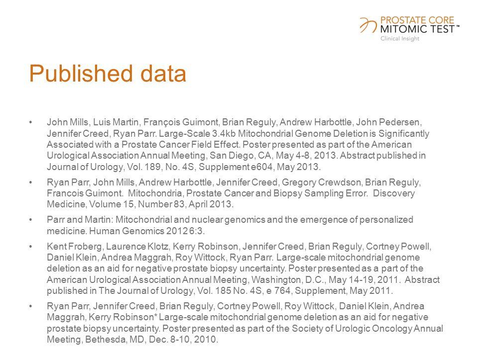 Published data John Mills, Luis Martin, François Guimont, Brian Reguly, Andrew Harbottle, John Pedersen, Jennifer Creed, Ryan Parr.