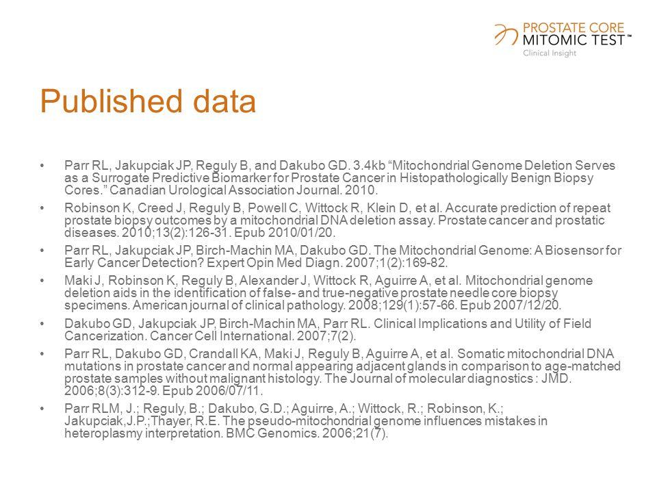 Published data Parr RL, Jakupciak JP, Reguly B, and Dakubo GD.