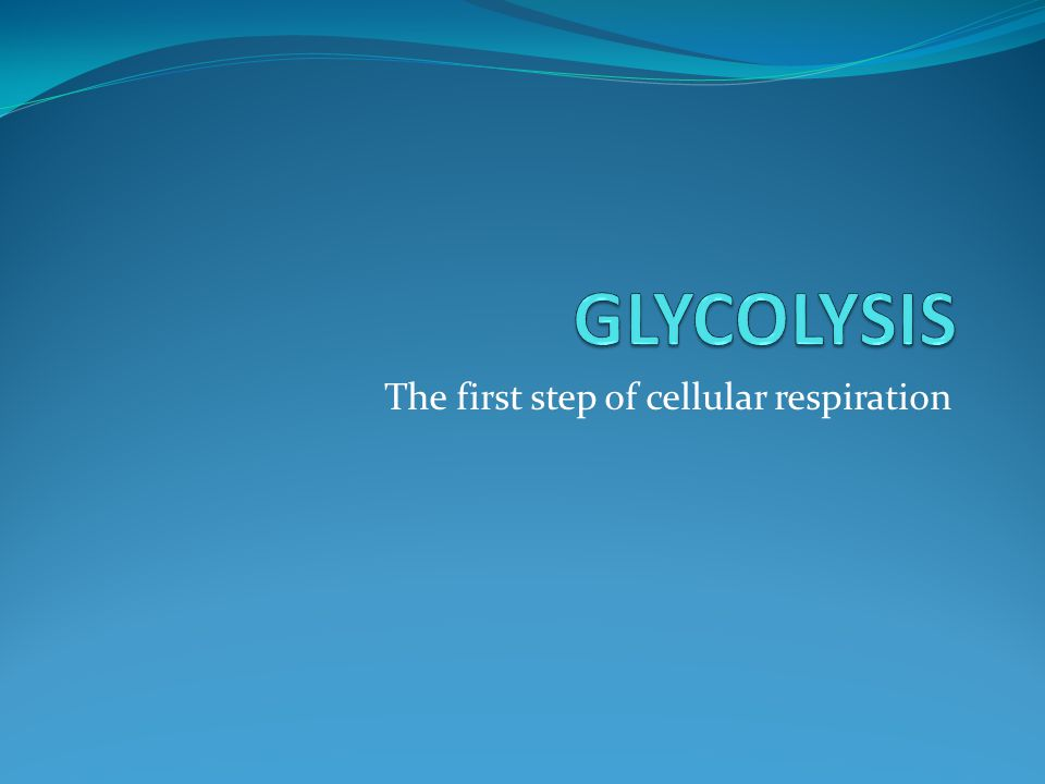 The first step of cellular respiration