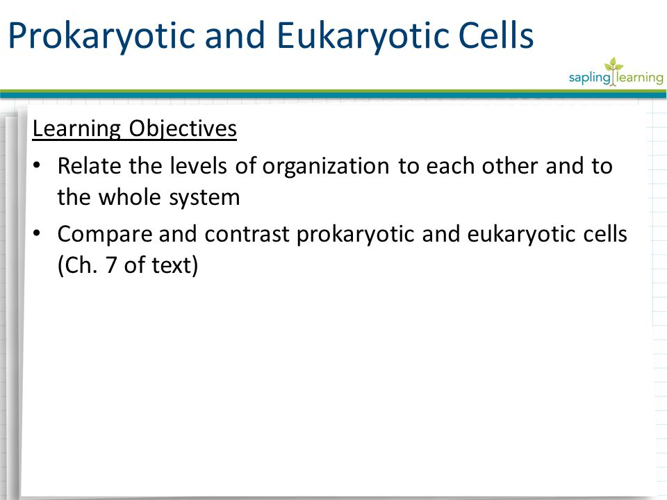 Learning Objectives Relate the levels of organization to each other and to the whole system Compare and contrast prokaryotic and eukaryotic cells (Ch.