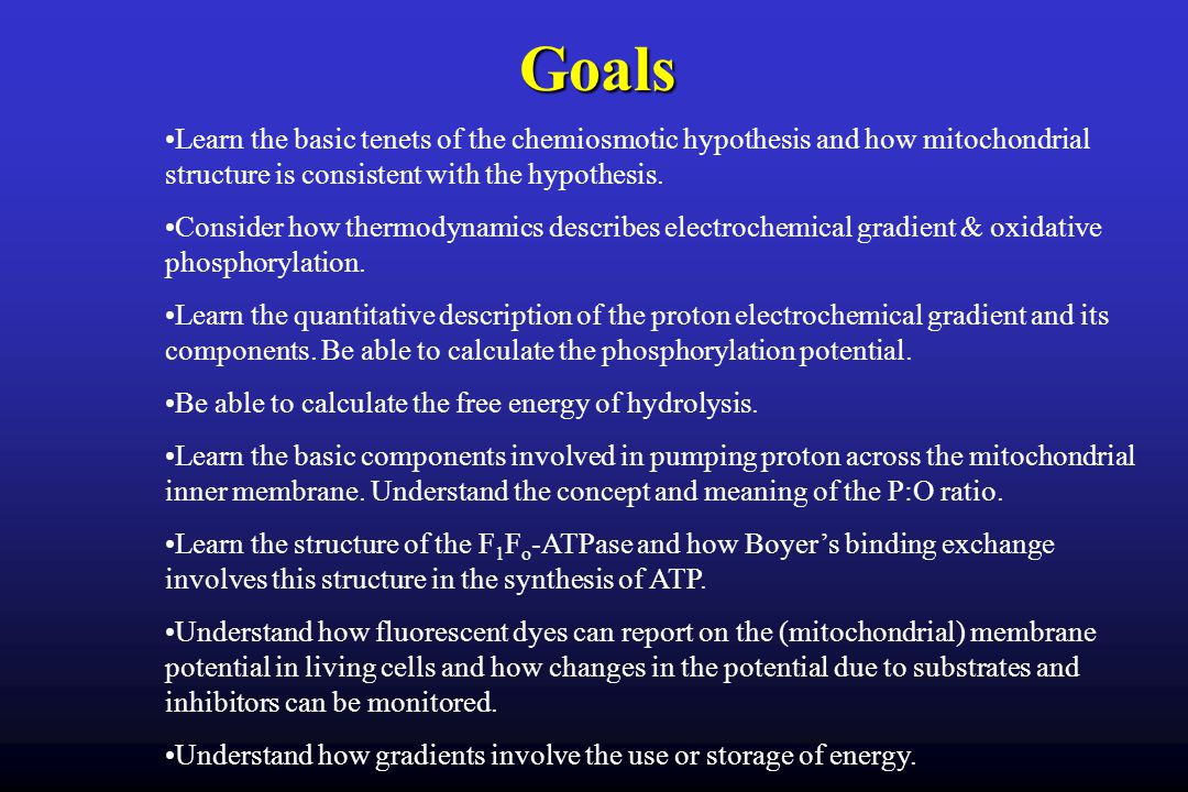 Goals Learn the basic tenets of the chemiosmotic hypothesis and how mitochondrial structure is consistent with the hypothesis.