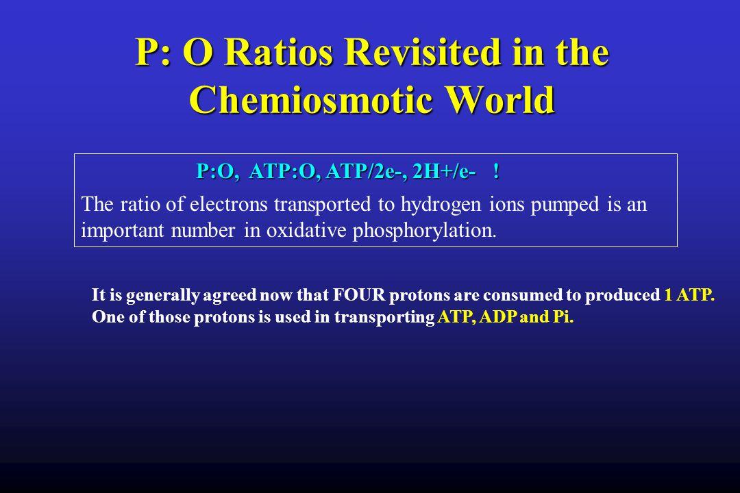 P: O Ratios Revisited in the Chemiosmotic World P:O, ATP:O, ATP/2e-, 2H+/e- .