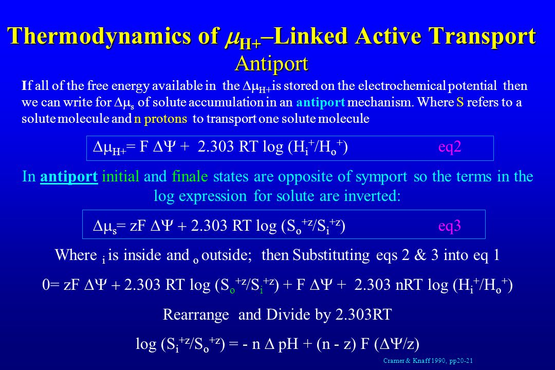 Thermodynamics of  H+ –Linked Active Transport Antiport If all of the free energy available in the  H + is stored on the electrochemical potential then we can write for  s of solute accumulation in an antiport mechanism.