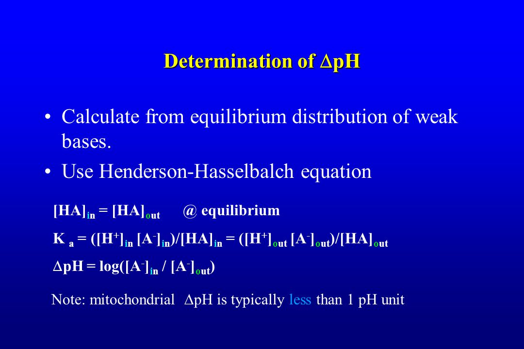 Determination of  pH Calculate from equilibrium distribution of weak bases.