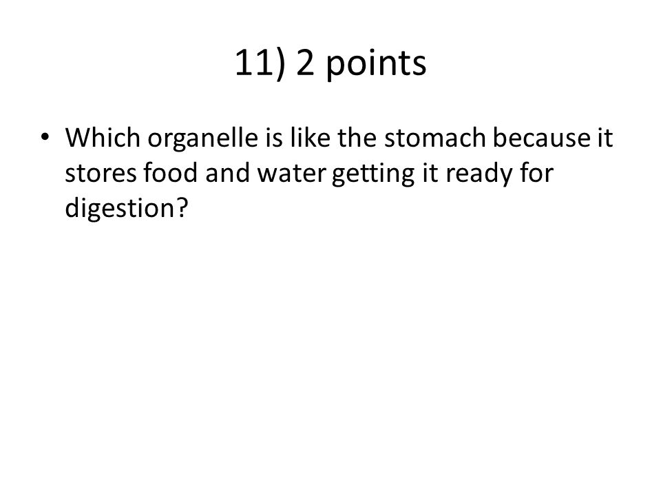 11) 2 points Which organelle is like the stomach because it stores food and water getting it ready for digestion?