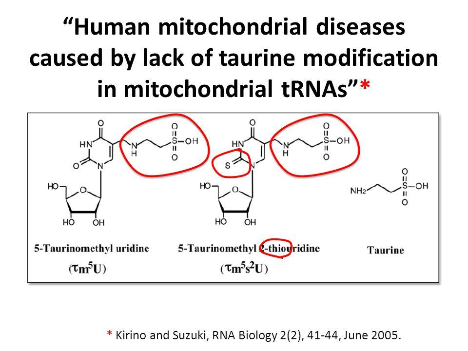 Defects from Genetic Mitochondrial Disorders* * Kirino and Suzuki, RNA Biology 2(2), 41-44, June 2005.