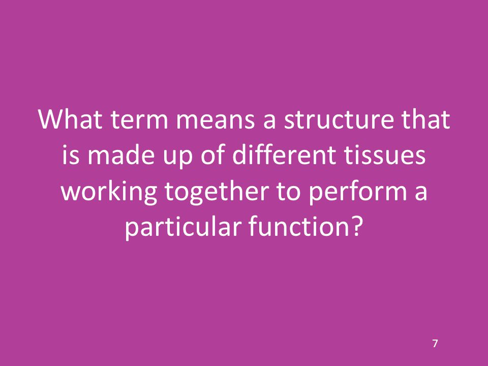 What term means a structure that is made up of different tissues working together to perform a particular function? 7