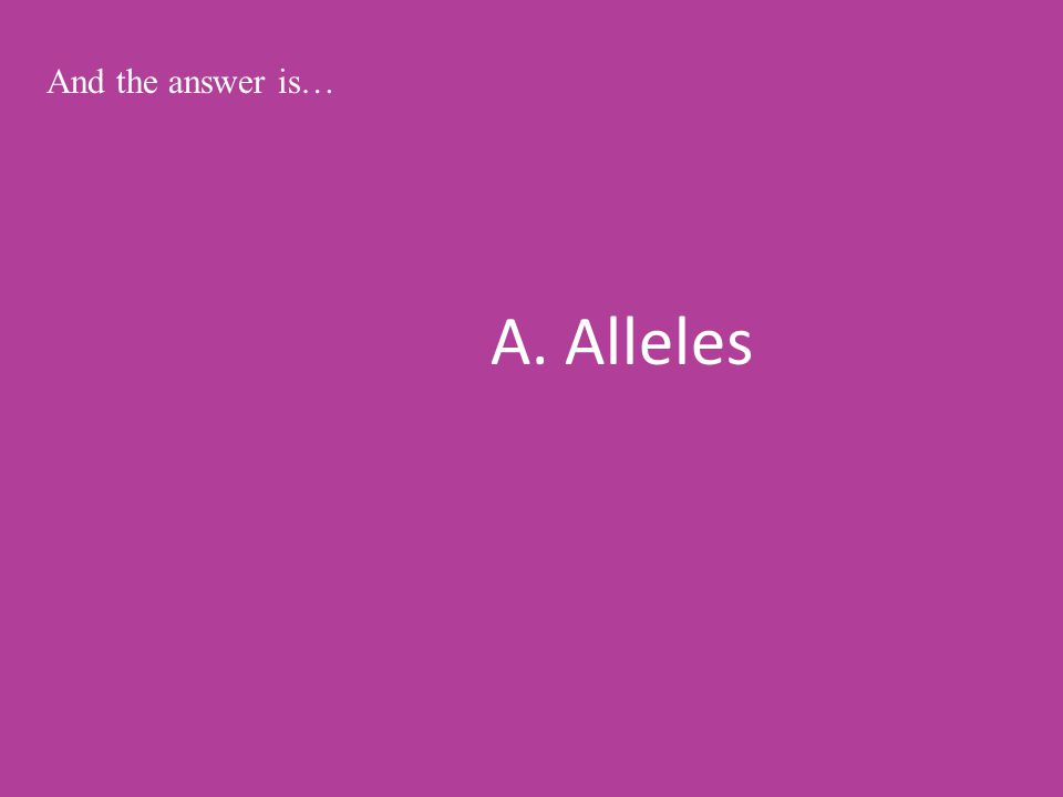 A. Alleles And the answer is…