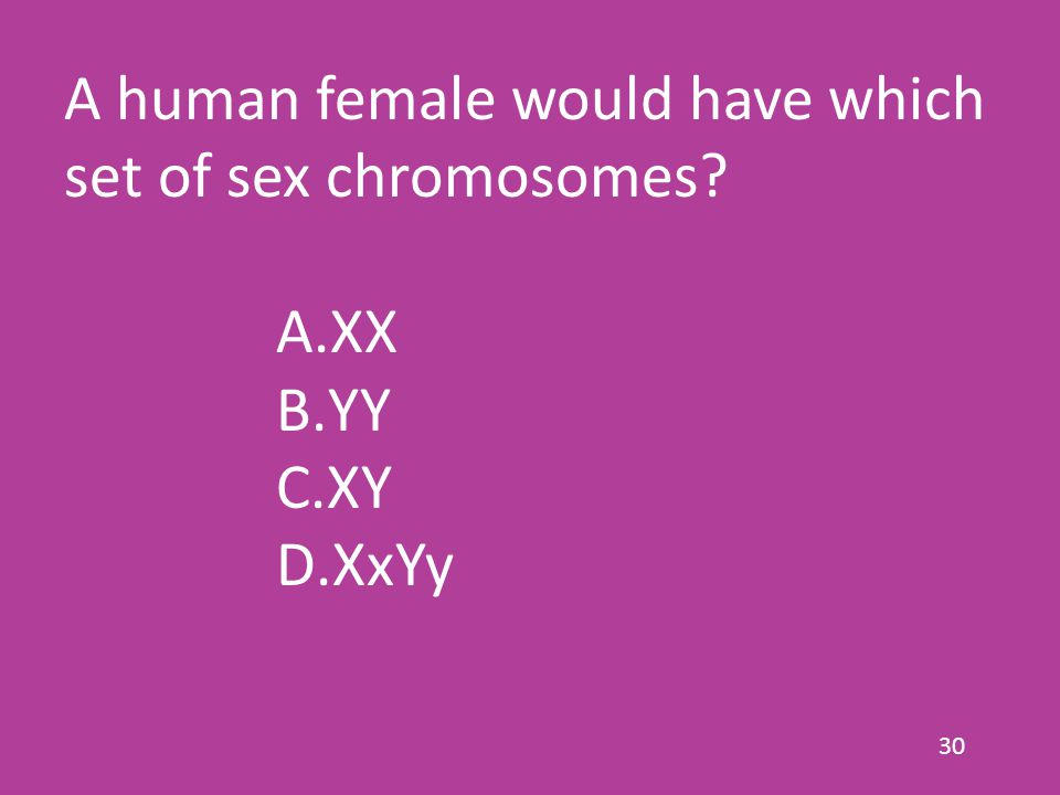 30 A human female would have which set of sex chromosomes A.XX B.YY C.XY D.XxYy