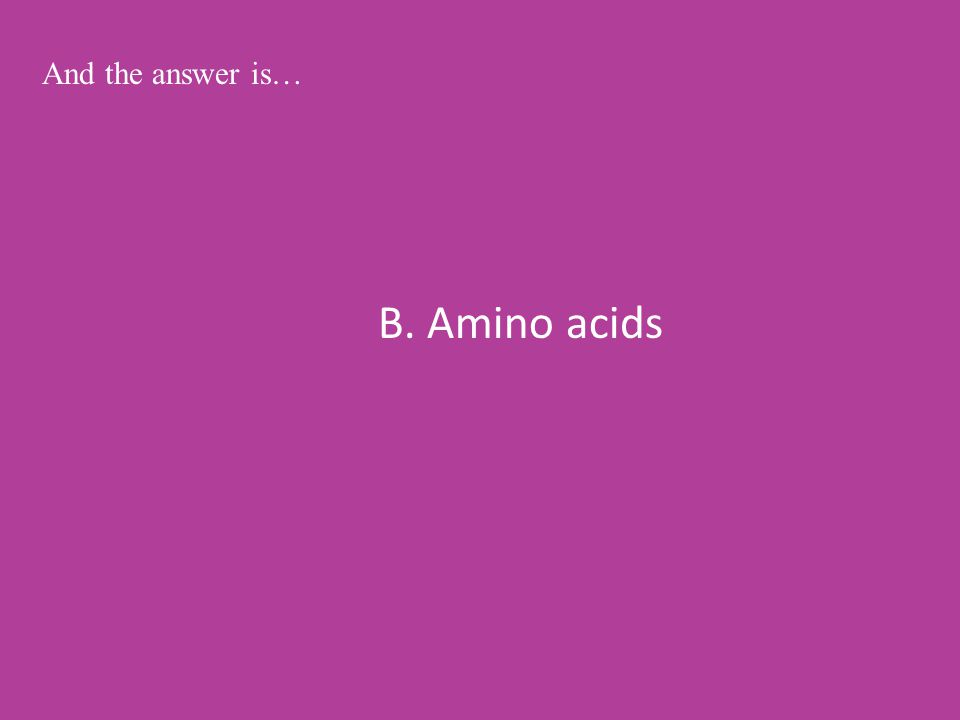B. Amino acids And the answer is…