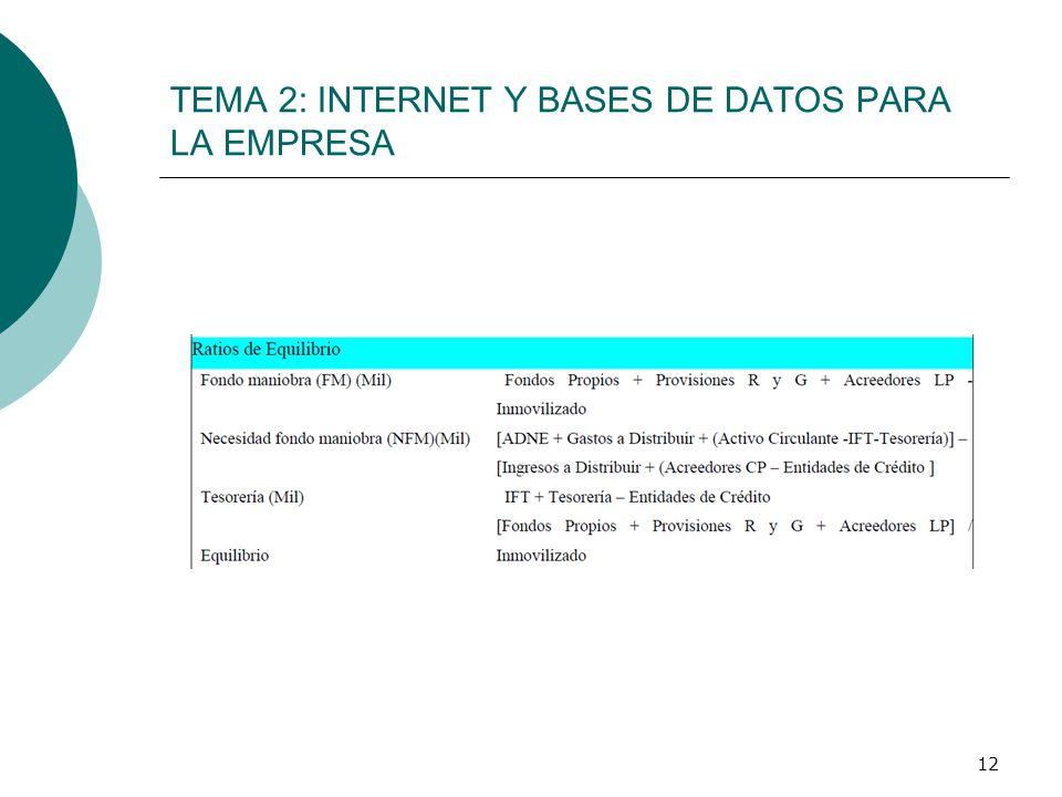 12 TEMA 2: INTERNET Y BASES DE DATOS PARA LA EMPRESA