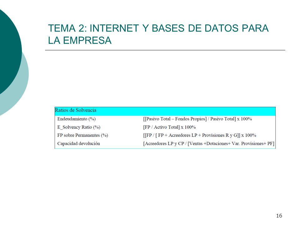 16 TEMA 2: INTERNET Y BASES DE DATOS PARA LA EMPRESA