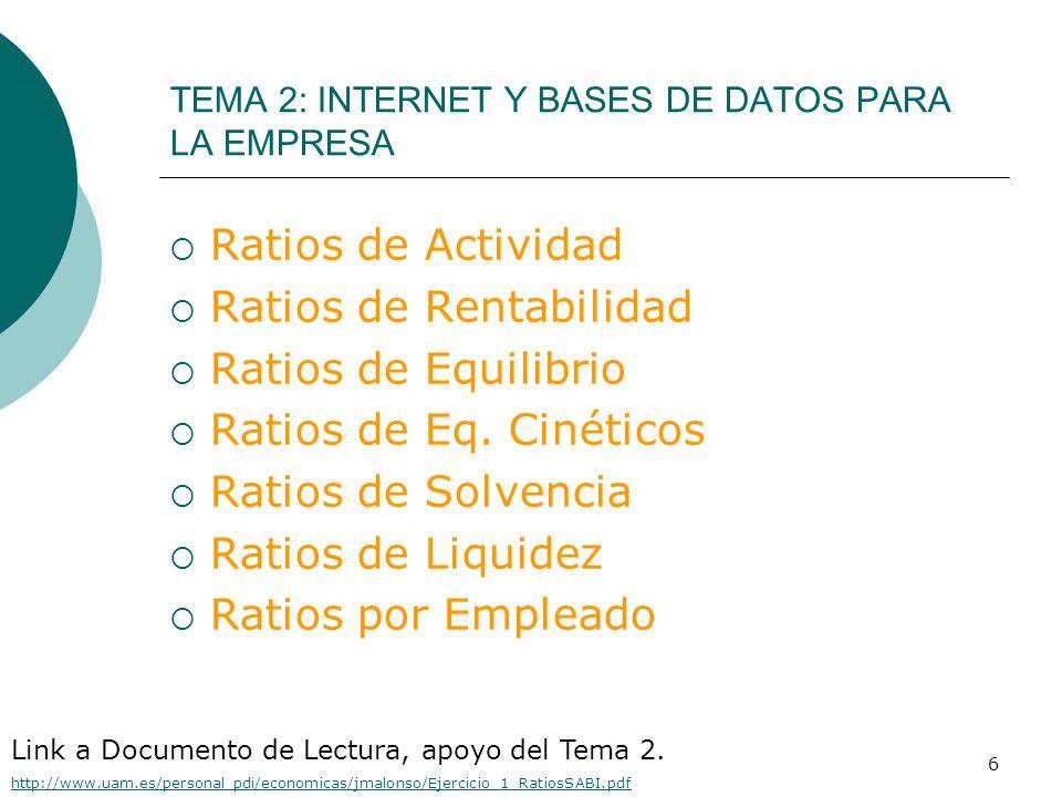 6  Ratios de Actividad  Ratios de Rentabilidad  Ratios de Equilibrio  Ratios de Eq.