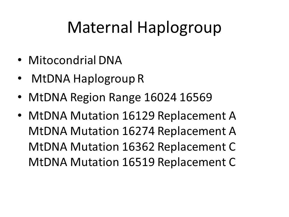Maternal Haplogroup Mitocondrial DNA MtDNA Haplogroup R MtDNA Region Range 16024 16569 MtDNA Mutation 16129 Replacement A MtDNA Mutation 16274 Replace