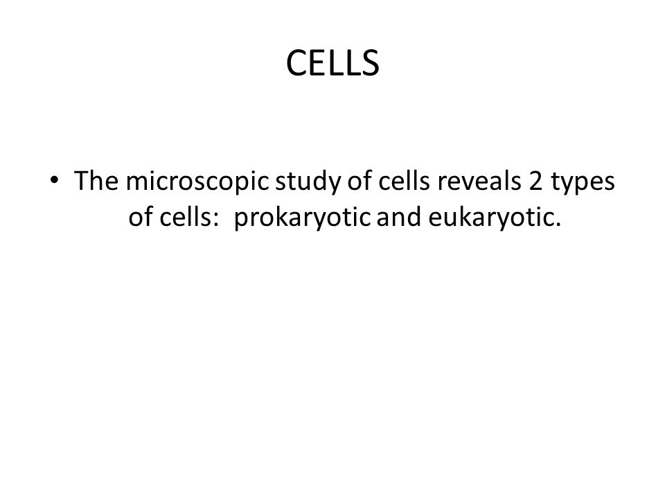 CELLS The microscopic study of cells reveals 2 types of cells: prokaryotic and eukaryotic.