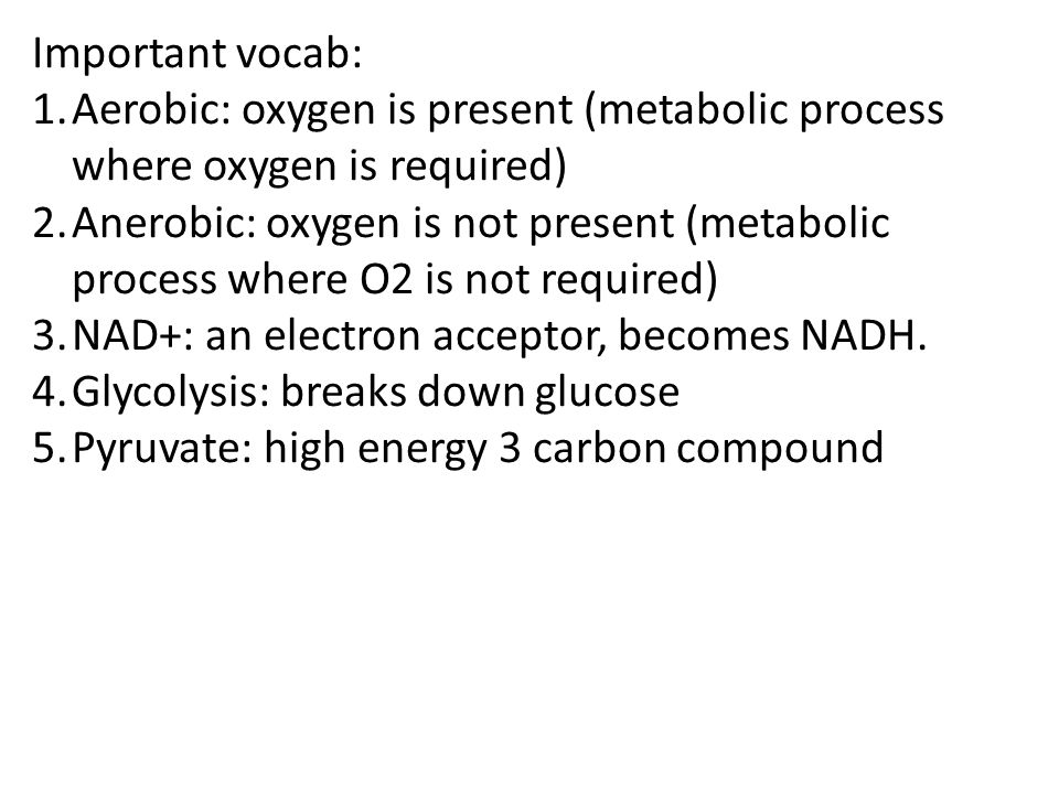 Important vocab: 1.Aerobic: oxygen is present (metabolic process where oxygen is required) 2.Anerobic: oxygen is not present (metabolic process where