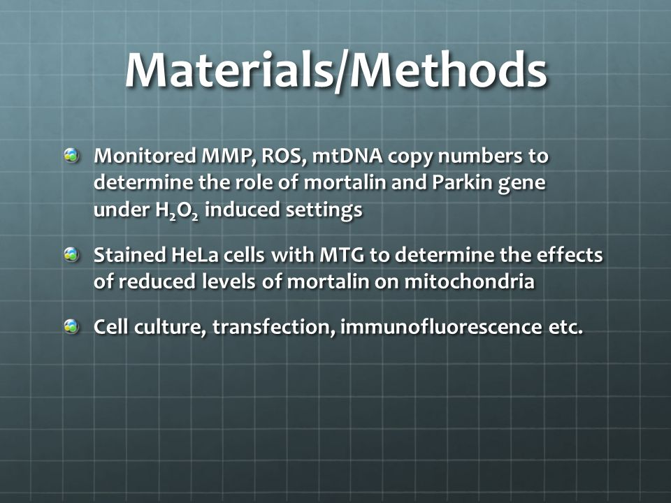 Materials/Methods Monitored MMP, ROS, mtDNA copy numbers to determine the role of mortalin and Parkin gene under H 2 O 2 induced settings Stained HeLa cells with MTG to determine the effects of reduced levels of mortalin on mitochondria Cell culture, transfection, immunofluorescence etc.
