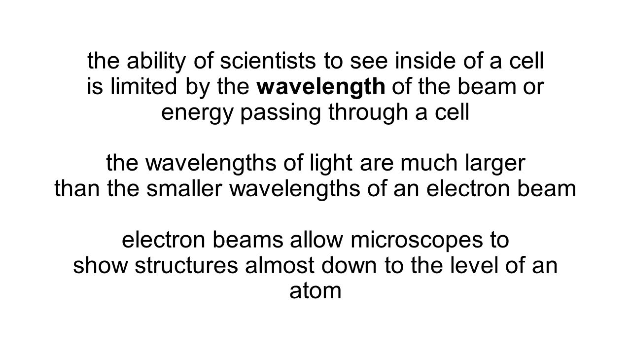 the ability of scientists to see inside of a cell is limited by the wavelength of the beam or energy passing through a cell the wavelengths of light a
