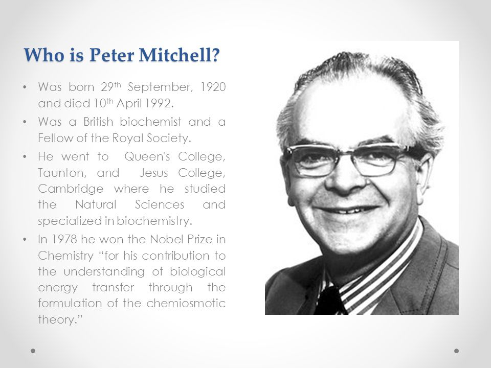 Who is Peter Mitchell. Was born 29 th September, 1920 and died 10 th April 1992.