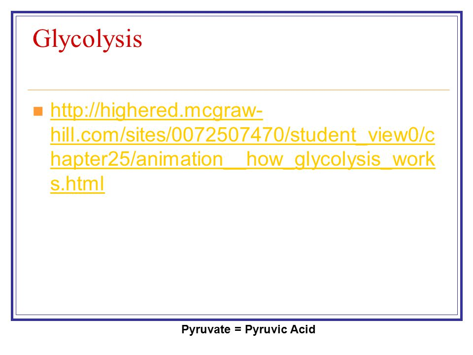 Glycolysis Pyruvate = Pyruvic Acid http://highered.mcgraw- hill.com/sites/0072507470/student_view0/c hapter25/animation__how_glycolysis_work s.html ht