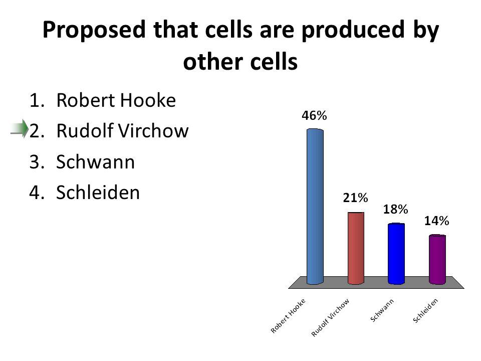 Proposed that cells are produced by other cells 1.Robert Hooke 2.Rudolf Virchow 3.Schwann 4.Schleiden