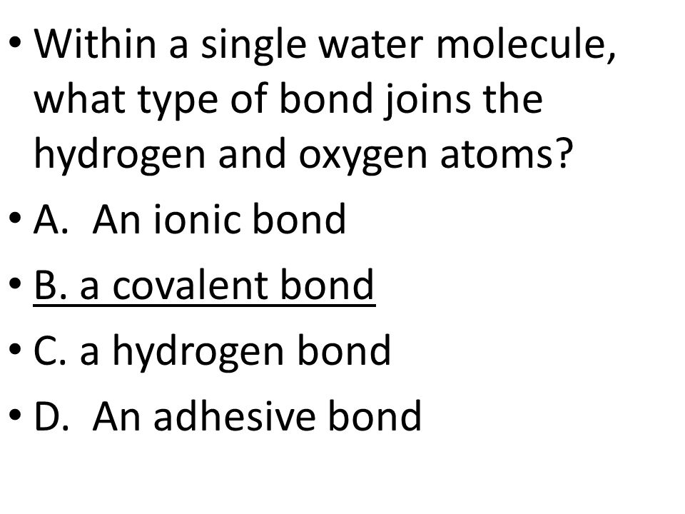 Within a single water molecule, what type of bond joins the hydrogen and oxygen atoms.