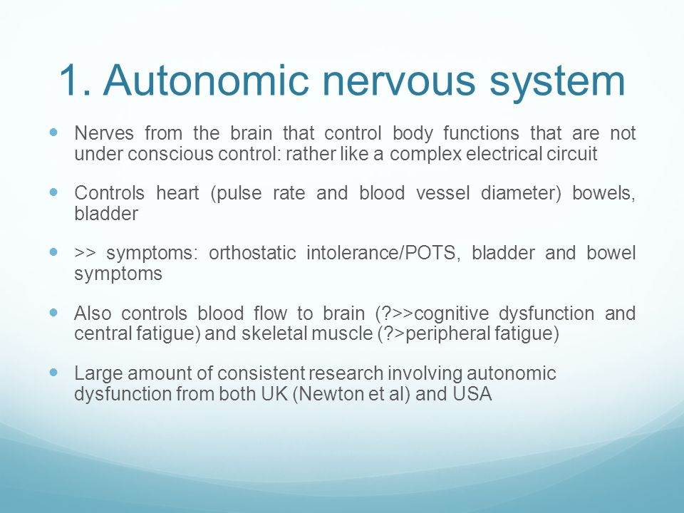 1. Autonomic nervous system Nerves from the brain that control body functions that are not under conscious control: rather like a complex electrical c