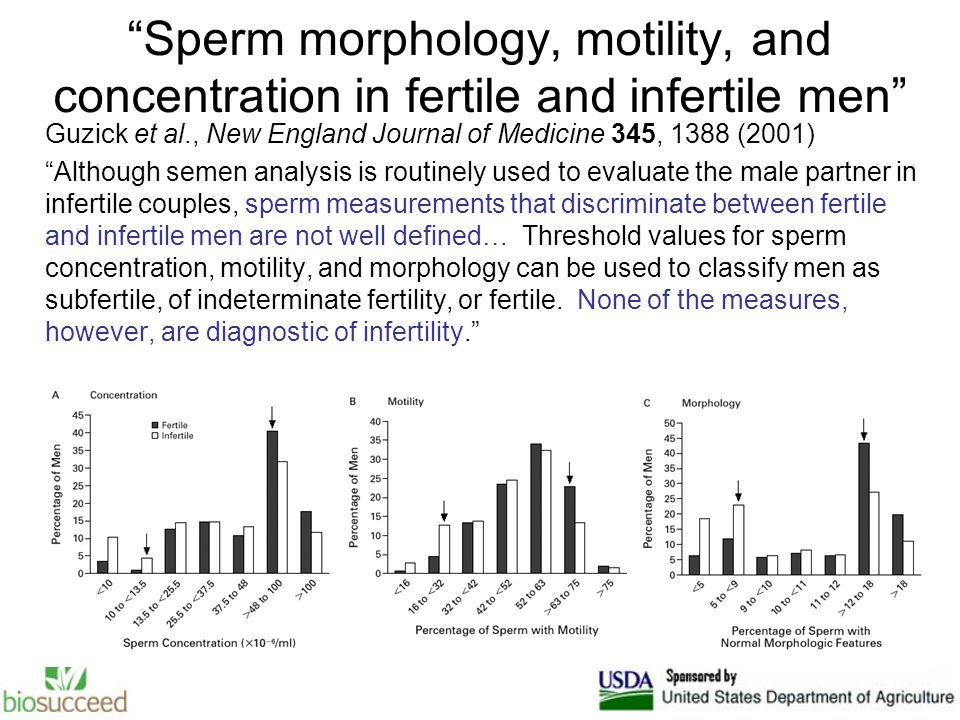 Sperm morphology, motility, and concentration in fertile and infertile men Guzick et al., New England Journal of Medicine 345, 1388 (2001) Although semen analysis is routinely used to evaluate the male partner in infertile couples, sperm measurements that discriminate between fertile and infertile men are not well defined… Threshold values for sperm concentration, motility, and morphology can be used to classify men as subfertile, of indeterminate fertility, or fertile.