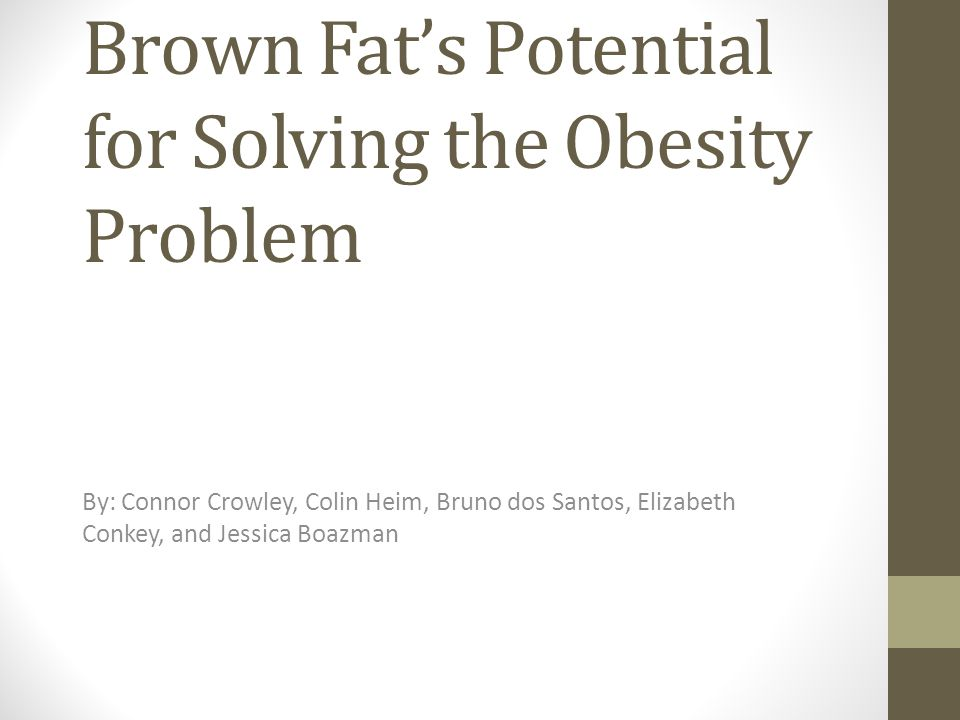 Brown Fat's Potential for Solving the Obesity Problem By: Connor Crowley, Colin Heim, Bruno dos Santos, Elizabeth Conkey, and Jessica Boazman