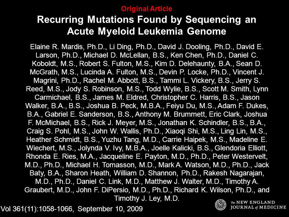 Original Article Recurring Mutations Found by Sequencing an Acute Myeloid Leukemia Genome Elaine R.