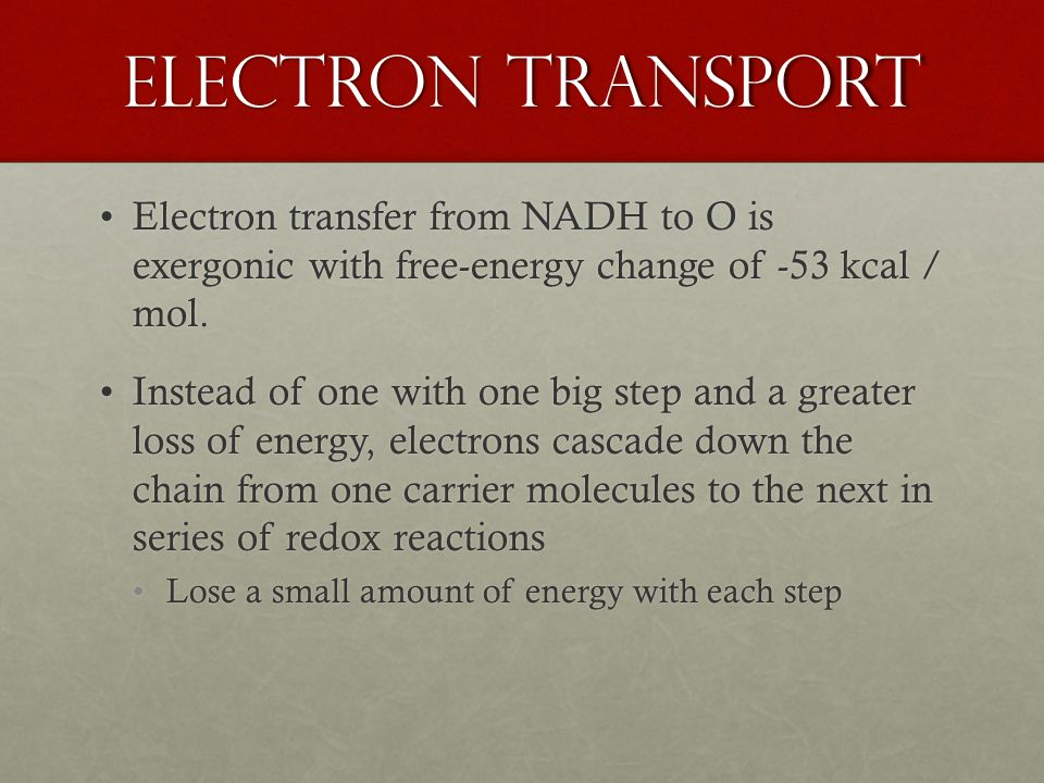Electron Transport Electron transfer from NADH to O is exergonic with free-energy change of -53 kcal / mol.Electron transfer from NADH to O is exergonic with free-energy change of -53 kcal / mol.