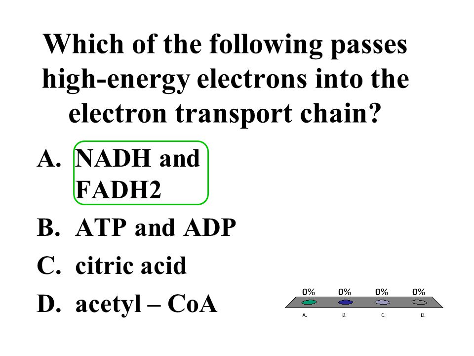 Which of the following passes high-energy electrons into the electron transport chain? A.NADH and FADH2 B.ATP and ADP C.citric acid D.acetyl – CoA