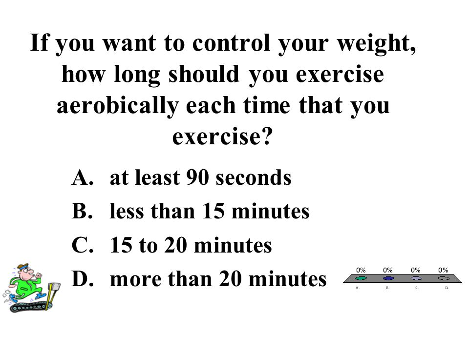 If you want to control your weight, how long should you exercise aerobically each time that you exercise? A.at least 90 seconds B.less than 15 minutes