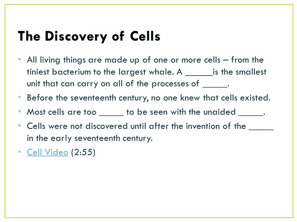 All living things are made up of one or more cells – from the tiniest bacterium to the largest whale.
