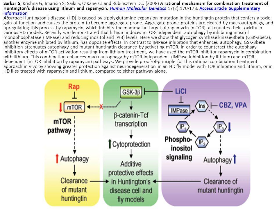 Sarkar S, Krishna G, Imarisio S, Saiki S, O'Kane CJ and Rubinsztein DC. (2008) A rational mechanism for combination treatment of Huntington's disease
