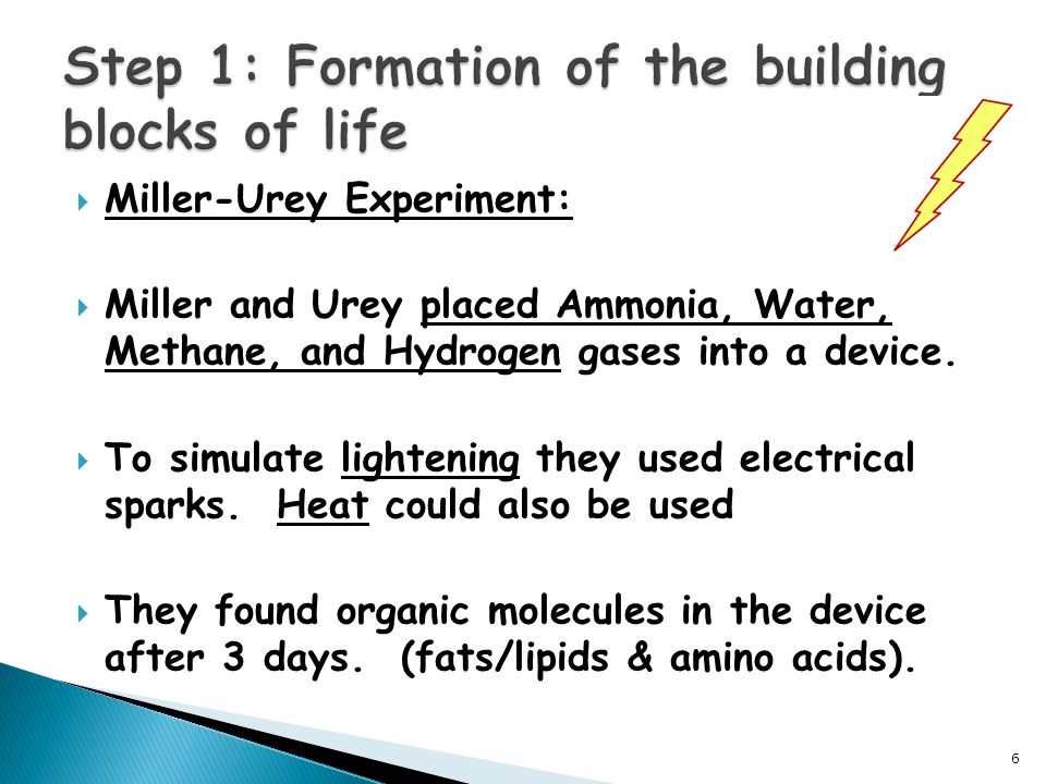  Miller-Urey Experiment:  Miller and Urey placed Ammonia, Water, Methane, and Hydrogen gases into a device.